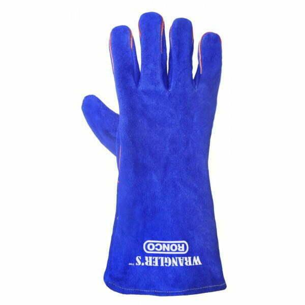 Blue Split Leather 5 Finger Welders Fully Lined