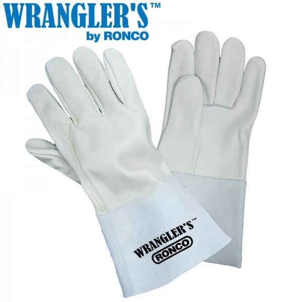 """Grain Leather TIG Welders 4.5"""" Gauntlet Cuff & Twaron Stitching"""