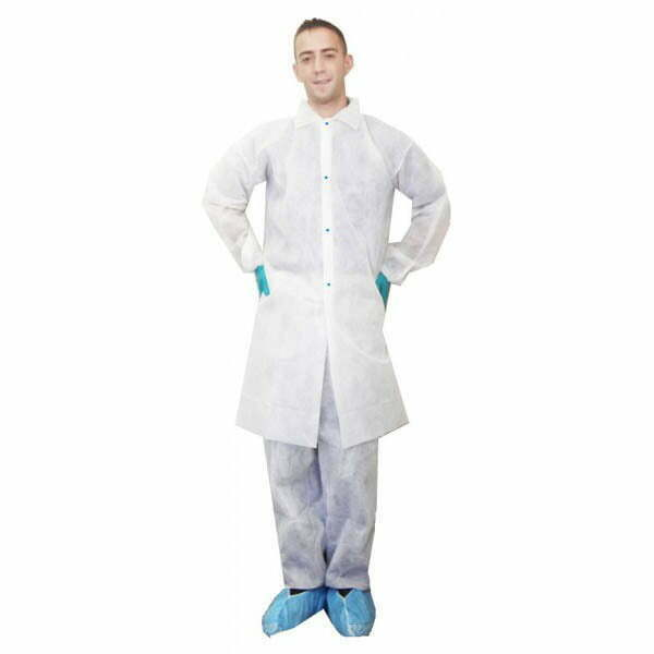 Polypropylene Labcoat With Collar, Front Snaps, No Pockets