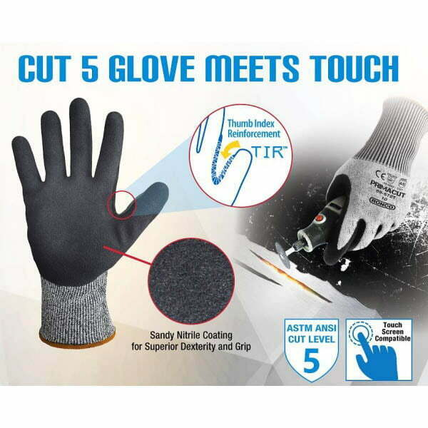 PrimaCut™ 69-572T Sandy Nitrile Palm Coated Touch Compatible Glove Cut Level: CE 5 / ANSI 5